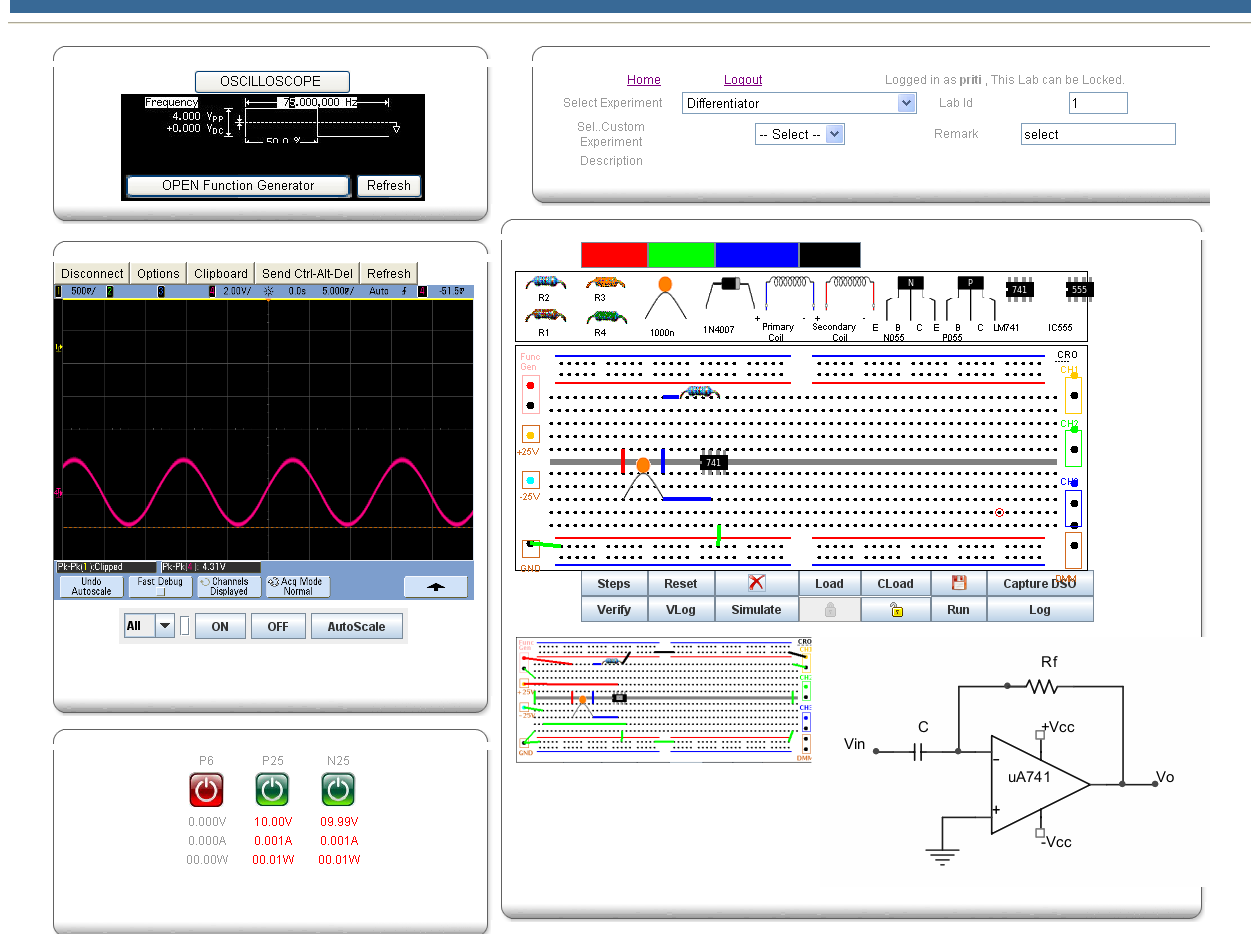Virtual Labs Dayalbagh Educational Institute Agra Function Generator Circuit Diagram Pictures Connect The Components On Breadboard As Shown In Connected At Bottom Of Live Experiment Page Nest To